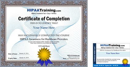 Hipaa training certification and compliance for Hipaa training certificate template